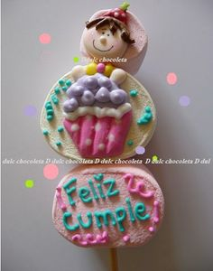 bombon decorado con royal icing