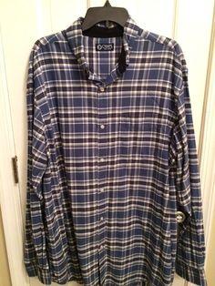 Chaps Men's Blue White Plaid Long Sleeve Button Front Shirt Size XLT | eBay
