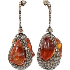 Arunashi Fire Opal And Diamond Egg Drop Earrings ($28,500) ❤ liked on Polyvore featuring jewelry, earrings, blkgold, 18 karat gold jewelry, 18k jewelry, 18 karat gold earrings, diamond jewellery and fish hook earrings