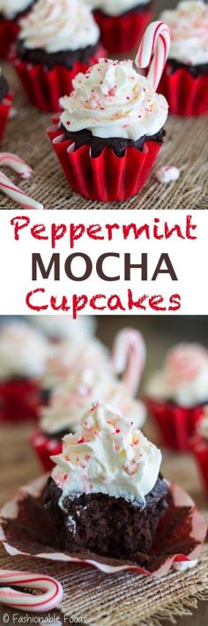 Welcome the holiday season with these cozy peppermint mocha cupcakes! Chocolate cake batter is flavored with coffee and peppermint extract for a classic flavor combo. Top the cupcakes with a delicious peppermint whipped cream frosting for the perfect holiday treat! {Gluten free}