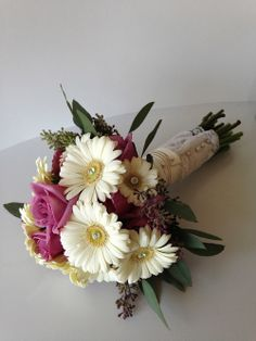 gerbera / gerber daisy bride bouquet with gems and lace wrap