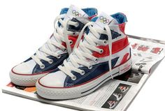 2012 Converse UK Flag London Olympic Commemorative Edition Blue Red High  Tops Canvas All Star 93a4cefb0965