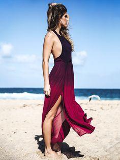 Halterneck Ombre Color High Slit Maxi Dress