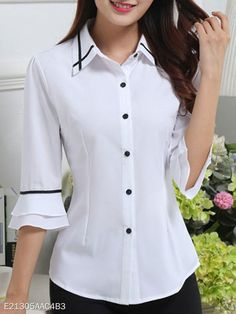 Spring Summer Polyester Women Turn Down Collar Single Breasted Contrast Piping Plain Half Sleeve Blouses - berrylook.com