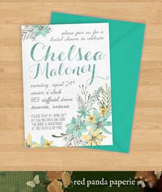 Printable Bridal Shower Invitations Mint Yellow by redpandapaperie