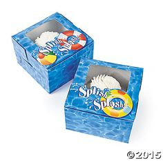 """Handing out treats in these Pool Party Cupcake Boxes is like putting the """"splish"""" with every """"splash""""; your party just would. Beach Ball Cupcakes, Beach Ball Party, Pool Party Favors, Pool Party Kids, Cupcake Boxes, Cupcake Party, Party Kit, Party Shop, Party Party"""