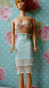 Vintage 1960's Barbie Doll Fashion PAK Lovely Lingerie Pale Blue Slip & Bra