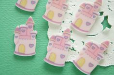8 pcs Pastel Pink Kawaii Castle Cabochon (17mm34mm) DR594 by Candydecoholic on Etsy