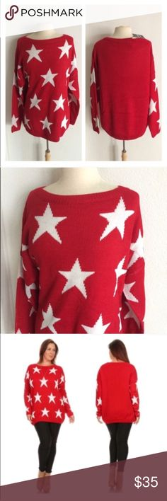 """2 LEFT! (Plus) Red star sweater Star sweater. 75% acrylic/ 25% nylon. Extremely soft and warm! These are not lightweight sweaters. Very TTS! I am a 2x and the 2x of this fits perfectly with a slightly oversized look.  1x: L 29"""" • B 50"""" 2x: L 29"""" • B 52"""" ⭐️This item is brand new with manufacturers tags or in original packaging. 🚫NO TRADES 💲Price is firm unless bundled 💰Ask about bundle discounts Availability: 1x•2x • 1•1 Sweaters Crew & Scoop Necks"""