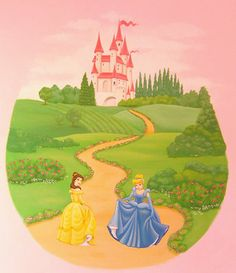 I really want to pain a scene on Lydia's wall....without the princess' and in light muted colors...but I like the rounded and whimsical feel of this!