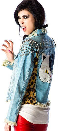 UNIF Cat Denim Jacket | Dolls Kill