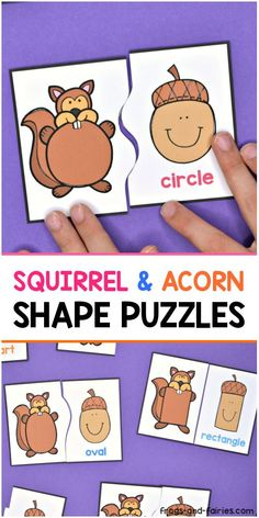 Squirrels are looking for their acorns! Help them find matching shape acorns before the winter comes! :) Each puzzle has a different line that connects the two pieces together, making the puzzles self-correcting! Preschool Classroom, Preschool Learning, Kindergarten Activities, Early Learning, Preschool Shapes, Preschool Printables, Tree Study, Autumn Activities For Kids, Shape Puzzles