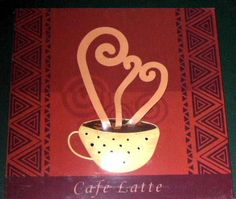 This cafe latte wall decor is done in wood with a 3 dimensional metal cup of steaming latte on a brick red background.    It measures approximately 10