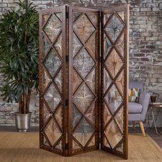 x Gwendoline Wood Wall 3 Panel Room Divider Glass Room Divider, Diy Room Divider, Panel Room Divider, Divider Screen, Divider Ideas, Portable Room Dividers, Wooden Room, Photo Room, Partition Design