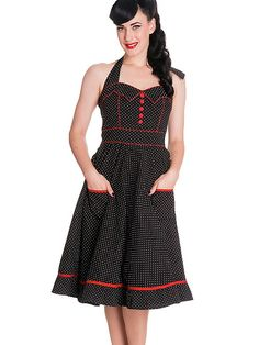 Hell Bnny Rockabilly Vintage Polka Dot and Red Piping Black Halter Party  Dress - Vanity Dress 1a14983cdc