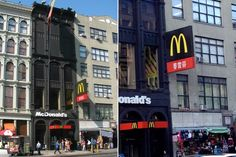 McDonalds on New York City's Canal Street is also one of the skinniest restaurants, fitting right in with the rest of the businesses and yet standing out due to its color. The building frame is made of cast iron.