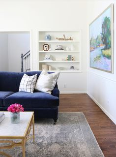 Cushy sofa: http://www.stylemepretty.com/living/2015/08/19/traditional-living-room-makeover-from-studio-mcgee/ | Design: Studio McGee - http://www.studio-mcgee.com/