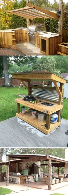 DIY Out of doors Deck Kitchen. DIY Stone Lined Grill Island. Out of doors Kitchen Bar With Pergola. DIY Out of doors Kitchen With Concrete Counter. Rustic Outdoor Kitchens, Outdoor Kitchen Bars, Patio Kitchen, Outdoor Kitchen Design, Diy Kitchen, Kitchen Ideas, Kitchen Designs, Simple Outdoor Kitchen, Island Kitchen