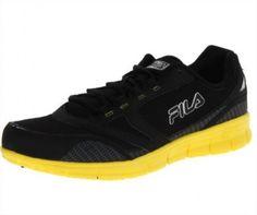 Tênis Fila Men s Memory Deluxe 3 Running Shoe Black Black Neon Yellow  tenis   fila 74371f31acb