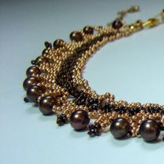 Bronze and Gold Fresh Water Pearl Bead Woven Collar Necklace