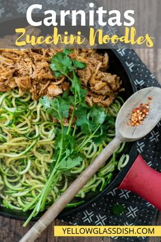 Carnitas Zucchini Noodles - A Keto zucchini noodle recipe packed with flavor! This low carb skillet meal is healthy and you can make it as spicy as you'd like. Cook Zucchini Noodles, Zucchini Noodle Recipes, Zoodle Recipes, Pork Recipes, Diet Recipes, Lunch Recipes, Recipe Zucchini, Freezer Recipes, Freezer Cooking