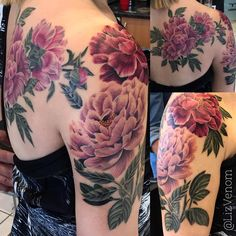 """Liz Venom on Instagram: """"Snagged a day two pic of this flower piece I have been working on. I will be starting at @khantattoostudio in #Brisbane in a few weeks so if you are in #queensland and want to get something rad email me ASAP Liz.venom.tattoo@gmail.com The peonies on her back are fully healed with no touchups and the ones on her arm have a few more hours to go before they are done."""