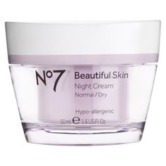 Recommended as best night cream in Real Simple.  And it's BOOTS!!! -Boots No7 Beautiful Skin Night Cream Normal/Dry