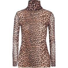 GANNI Tilden leopard-print mesh turtleneck top ($120) ❤ liked on Polyvore  featuring