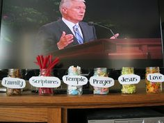 The kids get to take a candy anytime they hear the speaker say the word. Great idea to help them listen to Conference!