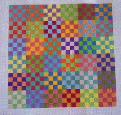 Beautiful Hand Painted HP Geometric Needlepoint Canvas 18 mesh