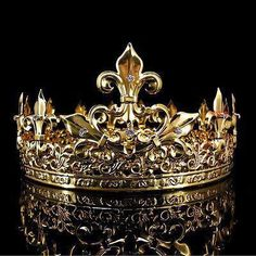 Men's Imperial Medieval Fleur De Lis Gold King Crown High Diameter - Gold Jewelry Royal Crowns, Royal Jewels, Tiaras And Crowns, Crown Jewels, Gold King Crown, Kings Crown, Diy Schmuck, Schmuck Design, Male Crown