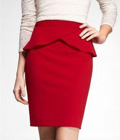 Express Womens High Waist Studio Stretch Peplum Pencil Skirt Mars Red, 00