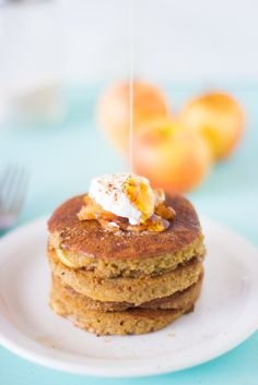 These Healthy Gluten Free Apple Pie Pancakes are only 100 calories, made with ground oats, filled with delicious caramelised apples and are so healthy & easy to make!