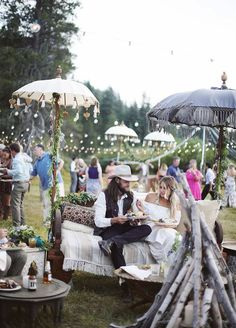 Boho-Inspired Outdoor Wedding That Will Give You Coachella Vibes - Wilkie Wedding Lounge, Chic Wedding, Wedding Reception, Wedding Seating, Boho Wedding Guest, Wedding Favors, Indie Wedding Dress, Tent Wedding, Free Wedding