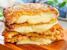 """Cauliflower Crusted Grilled Cheese Sandwiches recipe: Make your """"bread"""" out of cauliflower! This tasty version of a grilled cheese is gluten-free and lower in carbs. Just look at all of that melty cheese action. Recipe Using Cauliflower, Cauliflower Recipes, Low Carb Lunch, Low Carb Keto, Ketogenic Recipes, Low Carb Recipes, Craving Bread, Craving Carbs, Weigt Watchers"""