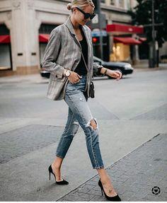 Tweed plaid & torn denim with heels