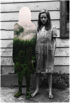 Colorful Elements from Nature Seamlessly Blended Into Vintage Photographs - by Merve Özaslan