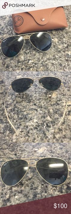 Classic Gold Polarized Ray-Bans Good condition. Classic style with case. Ray-Ban Accessories Glasses