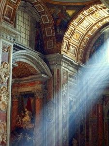 """God's Light""  a unique photo at St. Peter's Basilica, Rome. How awe inspiring is the detail in this building. What the craftsmen must have felt when they got done, stood back and saw the light shine through.  #monogramsvacation"