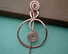 Copper Shawl Pin Harmony Spirals by spindlecatstudio on Etsy