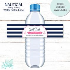 Nautical Pink and Navy Bachelorette Party Water Bottle Labels Personalized. For details visit: https://www.etsy.com/listing/532341651