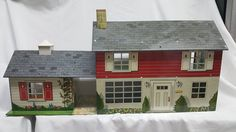 Louis Marx Colonial Breezeway Two Story with Games room Tin Litho Dollhouse Beautiful Half inch Scale home #louismarx #dollhouse