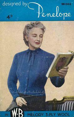 Subversive Femme: Curvy Month Pattern - Penelope M1362 Bow-Neck Cardigan, c 1940s