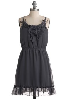 Galena Dress - Grey, Solid, Bows, Ruffles, Party, Casual, A-line, Spaghetti Straps, Spring, Summer, Short