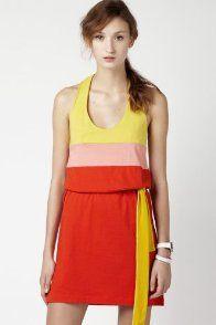Sleeveless Color block Supple Jersey Tank Dress
