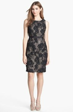Calvin Klein Ruffled Lace Sheath Dress | Nordstrom