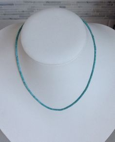"Native American Santo Domingo Turquoise Heishi Sterling Necklace 17"" - Deana Tenorio on Etsy, $42.00"