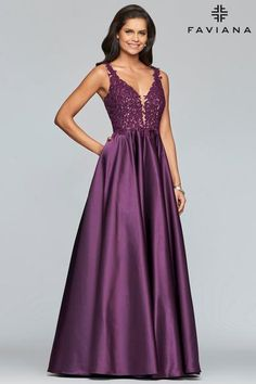 Faviana Style 10251 is a Long A-line satin ballgown with applique embellished bodice and side pockets. Cocktail Dresses With Sleeves, Black Cocktail Dress, Blue Homecoming Dresses, Bridesmaid Dresses, Bridesmaids, Wedding Dresses, Purple Gowns, Evening Dresses, Formal Dresses