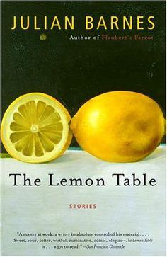 Book Info:  The Lemon Table  Author: Julian Barnes  Publisher: Vintage  Publication Date: April 5, 2005  Genre: Fiction  Design Info:  Designer: Megan Wilson  Illustrator: Richard Baker  Typefaces: Mrs Eaves  Frutiger