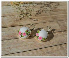 White earrings floral jewelry pink roses earrings applique